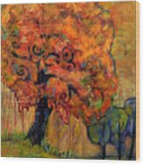 Tree Of Wisdom Wood Print by Blenda Studio