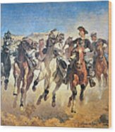 Troopers Moving Wood Print by Frederic Remington