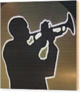 Trumpet - Classic Jazz Music All Night Long Wood Print by Christine Till