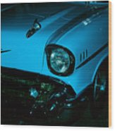 Turquoise Chevy Wood Print by DigiArt Diaries by Vicky B Fuller