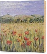 Tuscany Poppies Wood Print by Nadine Rippelmeyer