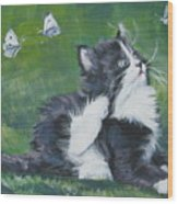 Tuxedo Kitten Wood Print by Lee Ann Shepard