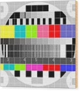 Tv Multicolor Signal Test Pattern Wood Print by Aloysius Patrimonio