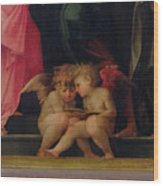 Two Cherubs Reading Detail From Madonna And Child With Saints Wood Print by Giovanni Battist Rosso Fiorentino