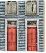 Two Red Doors Wood Print by Mel Steinhauer