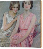 Two Young Women Seated Wood Print by William Henry Margetson