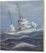 U. S. Coast Guard Cutter Sebago Takes A Roll Wood Print by William H RaVell III