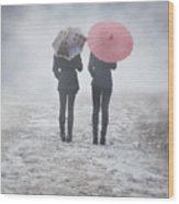 Umbrellas In The Mist Wood Print by Joana Kruse