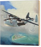 Uncle Bubba's Flying Boat Wood Print by Marc Stewart