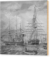 U.s. Naval Fleet During The Civil War Wood Print by War Is Hell Store