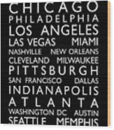 Usa Cities Bus Roll Wood Print by Michael Tompsett