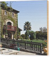 V Sattui Winery Building Napa Valley California Wood Print by George Oze