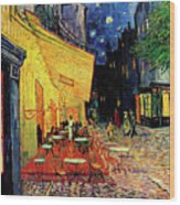 Van Gogh Cafe Terrace Place Du Forum At Night Wood Print by Vincent Van Gogh