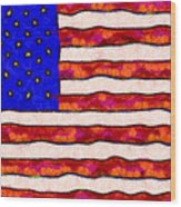 Van Gogh.s Starry American Flag Wood Print by Wingsdomain Art and Photography