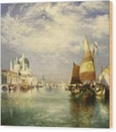 Venetian Grand Canal Wood Print by Thomas Moran