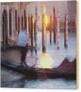 Venice Blue Hour 1 Wood Print by Heiko Koehrer-Wagner