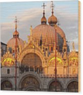 Venice Church Of St. Marks At Sunset Wood Print by Heiko Koehrer-Wagner