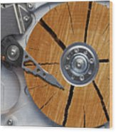 Very Old Hard Disc Wood Print by Michal Boubin