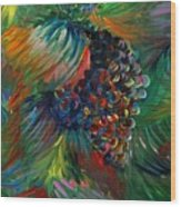 Vibrant Grapes Wood Print by Nadine Rippelmeyer