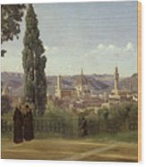 View Of Florence From The Boboli Gardens Wood Print by Jean Baptiste Camille Corot