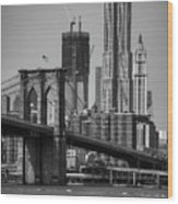 View Of One World Trade Center And Brooklyn Bridge Wood Print by Matt Pasant