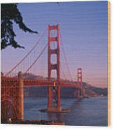 View Of The Golden Gate Bridge Wood Print by American School