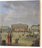 View Of The Grand Theatre Constructed In The Place De La Concorde For The Fete De La Paix Wood Print by Jean Baptiste Louis Cazin