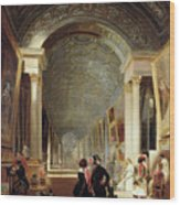 View Of The Grande Galerie Of The Louvre Wood Print by Patrick Allan Fraser