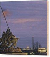 View Of The Iwo Jima Monument Wood Print by Kenneth Garrett