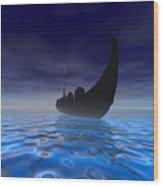 Viking Ship Wood Print by Corey Ford