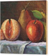 Vintage-fruit Wood Print by Linda Hiller