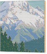 Vintage Mount Hood Travel Poster Wood Print by Mitch Frey