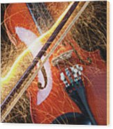 Violin With Sparks Flying From The Bow Wood Print by Garry Gay