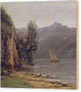 Vue Du Lac Leman Wood Print by Gustave Courbet