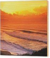 Waimea Bay Sunset Wood Print by Vince Cavataio - Printscapes