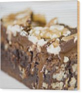 Walnut Brownie On A White Plate Wood Print by Ulrich Schade