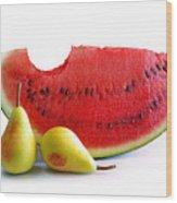 Watermelon And Pears Wood Print by Carlos Caetano