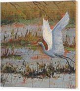Wetland Heron Wood Print by Graham Gercken