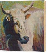 White Bull Portrait Wood Print by Marion Rose