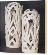 White Interlaced Sculptures Wood Print by Carolyn Coffey Wallace