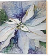 White Poinsettia Wood Print by Mindy Newman