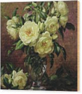 White Roses - A Gift From The Heart Wood Print by Albert Williams