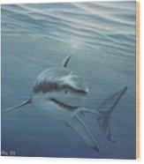 White Shark Wood Print by Angel Ortiz