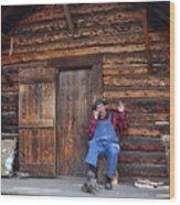 Wilderness Cabin Alaska Wood Print by Jennifer Crites