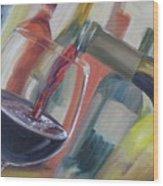 Wine Pour Wood Print by Donna Tuten
