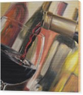 Wine Pour II Wood Print by Donna Tuten