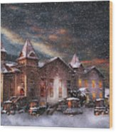 Winter - Clinton Nj - Silent Night  Wood Print by Mike Savad