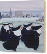 Winter At The Convent Wood Print by Margaret Loxton