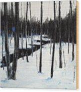 Winter Day Wood Print by Laura Tasheiko