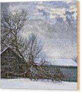 Winter Farm Wood Print by Steve Harrington